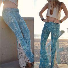 JUNO BELLS /// Lux Divine Clothing /// Velour & Vintage Crochet Bell Bottom Flare Pants - kind of obsessed