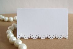 White Doily Lace Place Cards or Escort Cards for by cardsandmore4u, $95.00