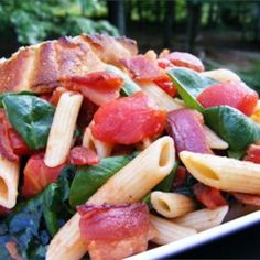 Penne Pasta with Spinach and Bacon - Allrecipes.com