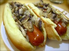Hot dog with mushrooms, onions, and garlic