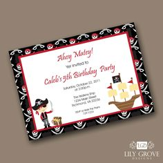 Pirate Birthday Invitation - Digital File - PRINT YOUR OWN. , via Etsy.