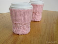 Make this adorable diy cup sleeve from a recycled sweater in minutes. It's perfect for gift giving and for breast cancer awareness month.