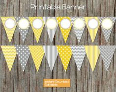 Yellow Grey Printable Editable Party Banner INSTANT DOWNLOAD Baby Shower Birthday Pennant Bunting Banner DIY pdf Party Decorations 001