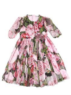 DOLCE & GABBANA - ROSES PRINT SILK CHIFFON DRESS - DRESSES - PINK/BLACK - LUISAVIAROMA