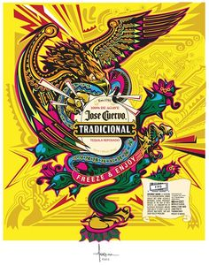 Commissioned to capture Mexican pride in a vector illustration for Jose Cuervo Tradicional Reposado and Sliver Tequila bottles, wraps created with PANTONE Thermal Inks- the art colorizes when in cold temperature. Eagle Art, Mexico Art, Marken Logo, Mexican Designs, Chicano Art, Art Sketchbook, Vector Art, Vector Shapes, Pop Art