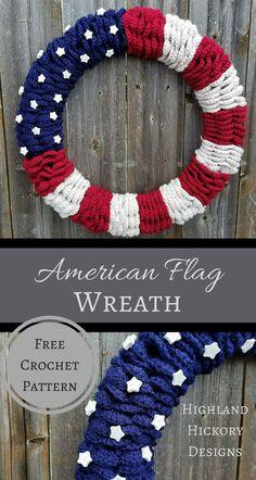 Crochet wreath   American flag diy