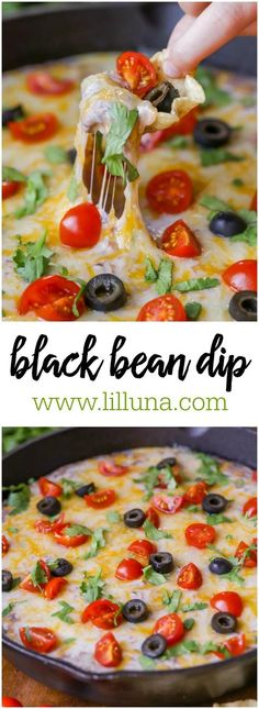 Cheesy and delicious Black Bean Dip that has sour cream cream cheese chilis and cheese mixed in topped with tomatoes cilantro and olives! - Cheese Chips - Ideas of Cheese Chips Mexican Food Recipes, New Recipes, Vegetarian Recipes, Cooking Recipes, Favorite Recipes, Healthy Recipes, Mexican Dishes, Family Recipes, Cooking Ideas