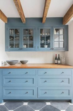 13 New Kitchen Trends - light blue cabinets, butcher block countertop, exposed beams, glass front cabinets - interno & esterno Farmhouse Kitchen Cabinets, Modern Farmhouse Kitchens, Kitchen Cabinet Design, Cool Kitchens, Rustic Farmhouse, Kitchen With Blue Cabinets, Blue Kitchen Ideas, Kitchen Modern, Colorful Kitchens
