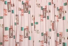 Your place to buy and sell all things handmade Curtain Panels, Fabric Panels, Panel Curtains, Atomic Decor, Modern Window Treatments, Retro Fabric, Pretty Lights, Pink Turquoise, Happy Colors