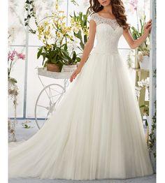 Beauty Bridal 2016 Simple Long A-Line Cap Sleeve Train Lace Wedding Dresses(18W,White)