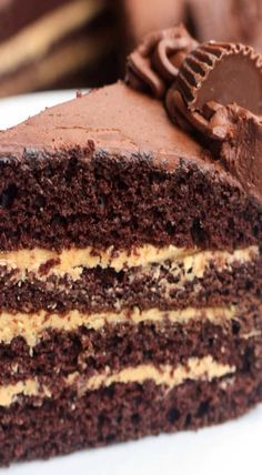 Chocolate cake layered with a smooth and creamy peanut butter frosting and the BEST chocolate frosting over the top. Chocolate Cakes, Chocolate Frosting, Best Chocolate, Chocolate Peanut Butter, Chocolate Recipes, Peanut Butter Frosting, Creamy Peanut Butter, Best Cake Recipes, Cupcake Recipes