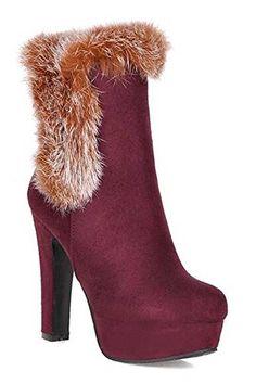 Susanny Women's Winter Fashion Warm Short Booties Casual Outdoor Suede Flat Heel Waterproof Faux Fur Beige Snow Boots 8 B (M) US