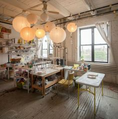 Susan Dwyer's studio space :: studio :: sunlight :: paper lamps :: workspace :: creative :: loft :: eclectic :: this is just what I need...............