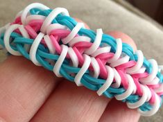 Rainbow Loom Bracelet  - Pink, Blue, and White - Latex Free RubberBands