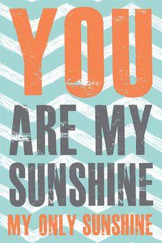 Boy Nursery Print, You are my Sunshine, turquoise blue, grey, orange Nursery Home Decor, Nursery Art, 10x15 art print by Jennifer McCully