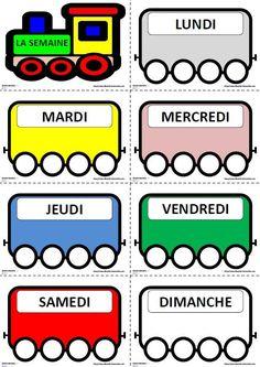 Le petit train des jours de la semaine à utiliser toute l'année avec les élèves du cycle 1 pour mémoriser le nom puis la graphie des jours.