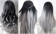 The ombre hair trend has been seducing for some seasons now. More discreet than tie and dye, less classic than sweeping, this new technique of hair. Silver Ombre Hair, Ombre Hair Color, Hair Color Balayage, Cool Hair Color, Hair Highlights, Black To Grey Ombre Hair, Dyed Hair Ombre, Gray Ombre, Pelo Color Plata