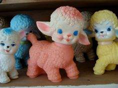 Antique Pink Kitsch1950s Original Squeak Toy Lamb Excellent Condition.