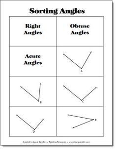 Angle Sorting Freebie from Laura Candler's Geometry File Cabinet