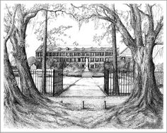 Pen and ink drawing of the Academy of the Sacred Heart, Grand Coteau, LA.