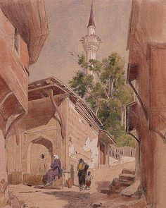 Les dessins de Jules Laurens A Constantinople Ottoman Empire, Moorish, 19th Century, Watercolor Paintings, Fine Art, History, World, Illustration, Turkey