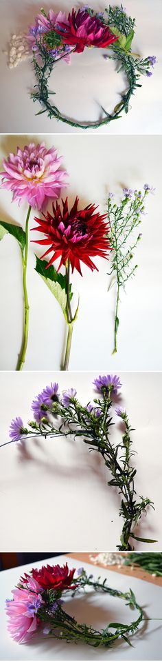 Dahlia and Aster Daisy Floral Crown