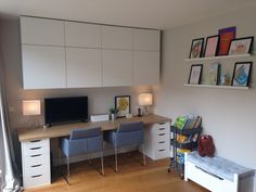 Home office and kids area  Besta cabinets, Alex desk with Ikea worktop, Farrow & ball Cornforth white wall colour  (love it!)
