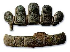 Beautifully cast fragments from a Viking sword discovered on the Isle of Man.