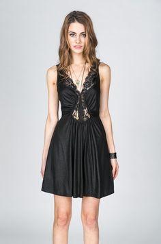 Black Lace V Neck Sleeveless Dress www.ustrendy.com #UsTrendy