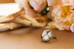 Abstract beige brown squares ring. Adjustable ring by CitrusCat