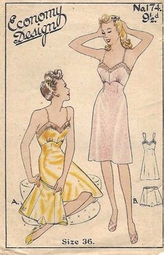 Vintage Lingerie Sewing pattern for a gorgeous knicker and slip set. A bit about ourselves! Buy 5 patterns and get sixth pattern of your choice FREE (FREE being the lowest price). Vintage Dress Patterns, Clothing Patterns, 1940s Fashion, Vintage Fashion, Nightgown Pattern, Jumpsuit Pattern, Moda Vintage, Vintage Slip, Vintage Apron