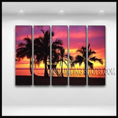 Huge Contemporary Wall Art High Quality Oil Painting For Bed Room Hawaii Beach. This 5 panels canvas wall art is hand painted by E.Cheung, instock - $168. To see more, visit OilPaintingShops.com