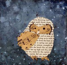 """He Made His Grand Escape"" Baby Owl PRINT in dark blue by etsy artist Michelle Schneider"