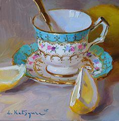 Teacup and Sliced Lemon by Elena Katsyura Oil ~ 6 x 6