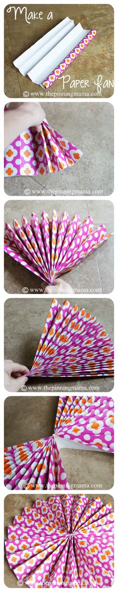 DIY Party Decor- How To Make A Paper Fan Backdrop | The Pinning Mama, wrapping paper