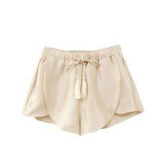 Satin Tulip Fringe Tie Shorts
