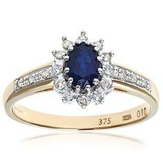 Bague Femme - Or jaune (9 carats) 2.18 Gr - Saphir - Diamant 0.1 Cts - T 55.5