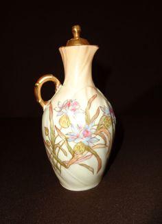 Antique Limoges Hand Painted Mark Laviolette Porcelain Cruet 1896 - 1905