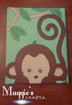Very cute monkey canvas painting- would b adorable in a kid's room