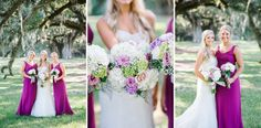 WESTON + JACLYN'S Southern, classic and elegant BOONE HALL PLANTATION wedding photos // Purple bridesmaid gowns by Charleston wedding photographers Aaron and Jillian Photography