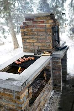 Grill Station design ideas for your backyard. - cool Fire Pits: Find Outdoor Fire Pit Table and Bowl Designs Online by Relaxing Outdoor Kitchen Ideas for Happy Cooking & Lively Party Pit Bbq, Barbecue Grill, Backyard Bbq Pit, Barbecue Ideas Backyard, Diy Grill, Grill Party, Rustic Backyard, Brick Bbq, Outdoor Kitchen Countertops