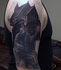 Men's Graveyard Sleeve Tattoos