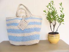 Striped basket bag, crochet rope bag, beach basket bag, striped handbag, summer bag, shopper bag, crochet beach bag, choose your lining