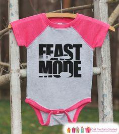 Kids Thanksgiving Outfit - Feast Mode Shirt - Girl Thanksgiving Outfit - Pink Raglan Tshirt or Onepiece - Toddler Thanksgiving Dinner Shirt