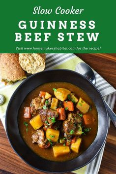 Slow Cooker Guiness Beef Stew is a rich, hearty meal that's easy to make in the slow cooker.