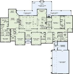 European Style House Plan - 4 Beds 3.5 Baths 4810 Sq/Ft Plan #17-2387 Floor Plan - Main Floor Plan - Houseplans.com
