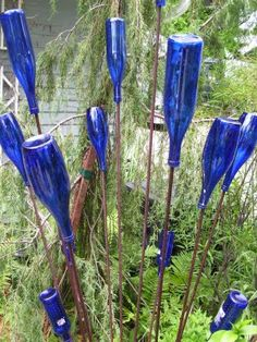 A bottle tree.  Beautiful and simple - rebar and blue wine bottles.