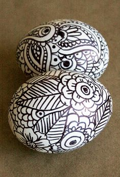 Doodle Eggs  Blow egg out, make design with sharpie marker