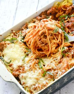 Weight Watcher Recipes - Baked Cream Cheese Spaghetti Casserole - Recipe Diaries