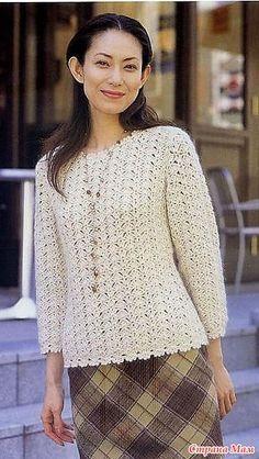 Ажурный пуловер крючком.